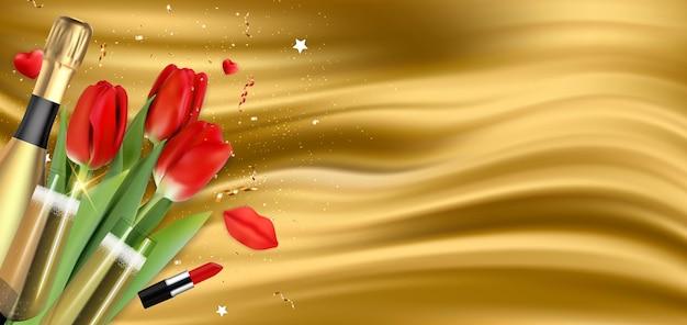 Fundo de parabéns do feriado do golden silk happy womens day com tulipas vermelhas e champanhe