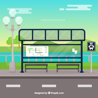 Fundo de paragem de autocarro vazio em estilo simples
