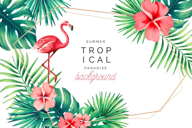 Fundo de paraíso tropical com flamingo