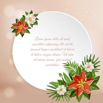 Fundo de paraíso tropical com placa redonda brilhante com texto ornamentado editável com imagens coloridas de flores