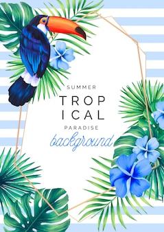 Fundo de paraíso tropical com tucano