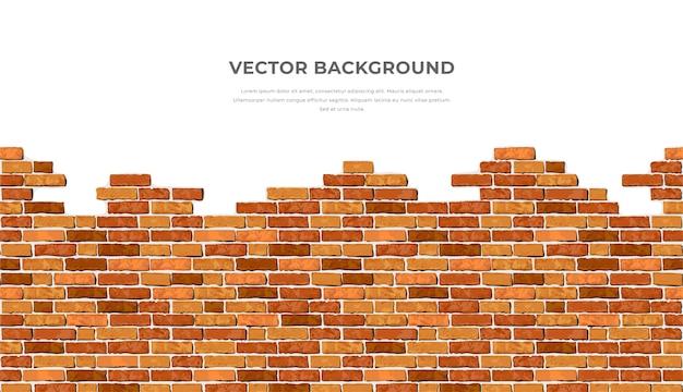 Fundo de parede de tijolo horizontal quebrado realista com texto