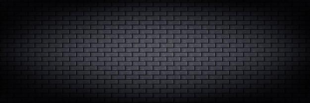 Fundo de parede de tijolo preto panorâmico isolado realista para decoração de modelo e layout
