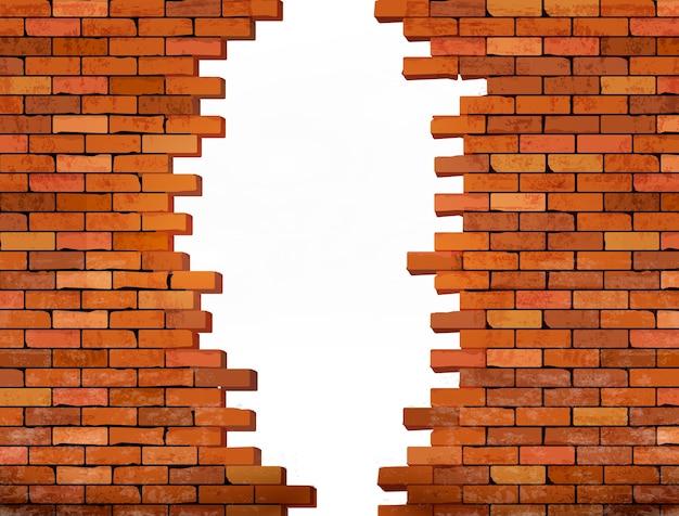 Fundo de parede de tijolo vintage com furo.