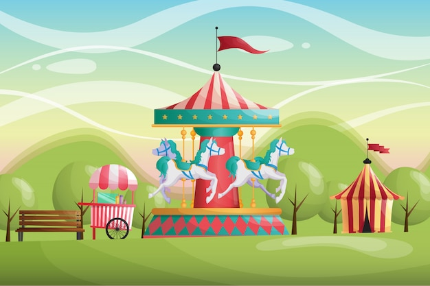 Fundo de parque de carrossel de circo carnaval
