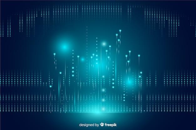 Fundo de partículas caindo de tecnologia brilhante