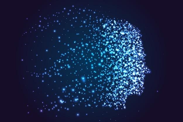 Fundo de partículas com formato de rosto