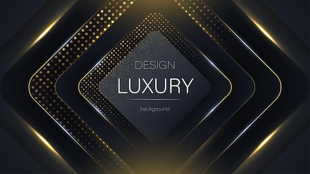 Fundo de partículas de glitter dourados e pretos modernos de tecnologia abstrata de luxo padrão gracioso
