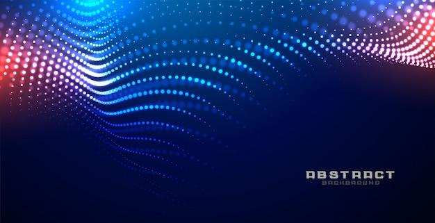 Fundo de partículas de malha de onda brilhante de tecnologia