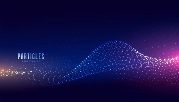 Fundo de partículas de onda brilhante tecnologia abstrata