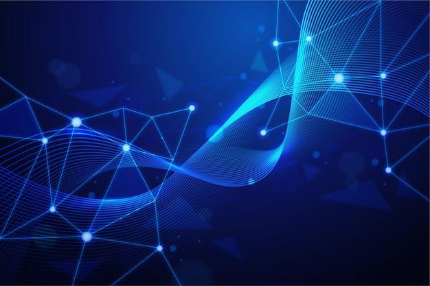Fundo de partículas de tecnologia abstrata realista
