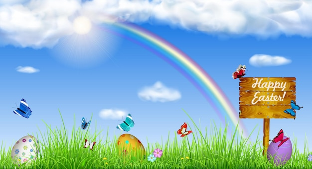 Fundo de páscoa com céu, sol, grama, arco-íris, ovos de páscoa, borboletas, flores e ponteiro de madeira