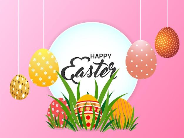 Fundo de páscoa feliz com coelhinho e ovos de páscoa coloridos