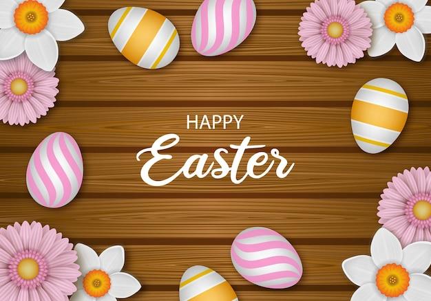 Fundo de páscoa feliz com flores e ovos