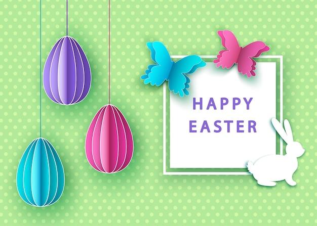 Fundo de páscoa feliz com ovos coloridos cortados em papel, borboleta e coelho.
