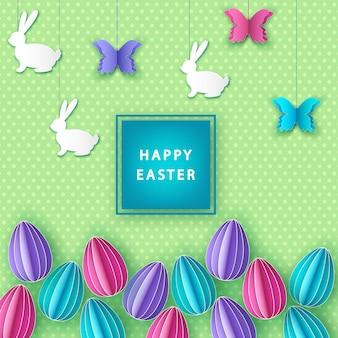 Fundo de páscoa feliz com ovos coloridos de papel, borboleta e coelho.