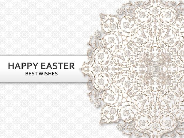 Fundo de páscoa feliz com padrão floral arabesco