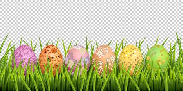 Fundo de páscoa feliz. grama de primavera e ovos pintados em fundo transparente