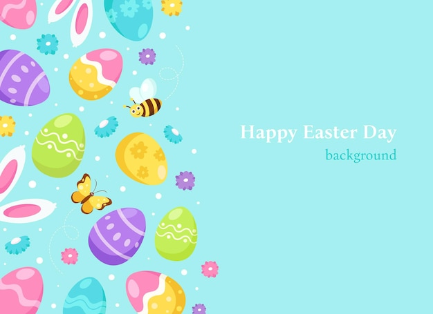 Fundo de páscoa feliz. ovos de páscoa, orelhas de coelho
