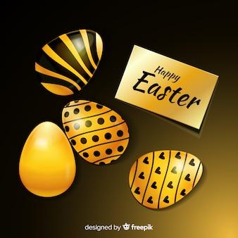 Fundo de páscoa feliz preto e dourado