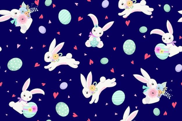 Fundo de páscoa primavera com coelhinhos bonitos, ovos e flores para design de papel de parede e tecido. ilustração vetorial