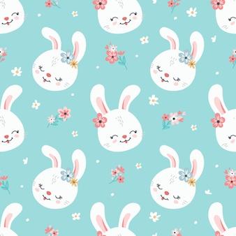 Fundo de páscoa primavera com coelhos bonitos para papel de parede e design de tecido. vetor