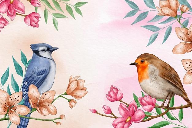 Fundo de pássaros florais em aquarela pintado à mão