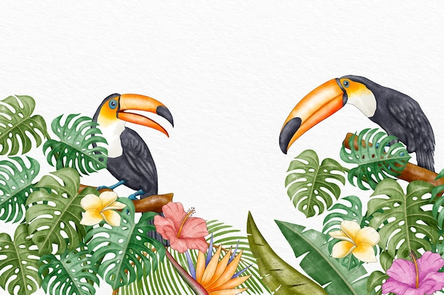 Fundo de pássaros tropicais pintados à mão em aquarela