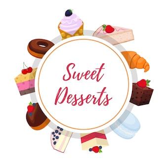 Fundo de pastelaria doce com sobremesas
