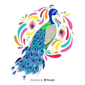 Fundo de pavão em aquarela