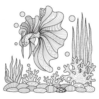 Fundo de peixe desenhado à mão