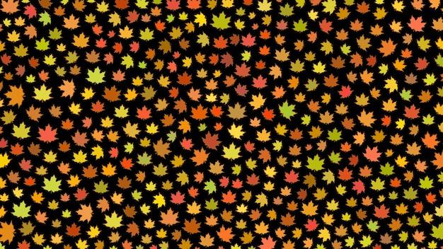 Fundo de pequenas folhas de outono em fundo preto