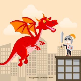 Fundo, de, personagem negócio, luta, com, um, dragão