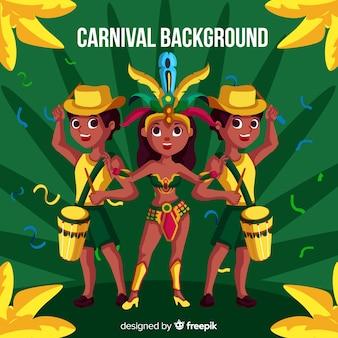 Fundo de personagens do carnaval brasileiro
