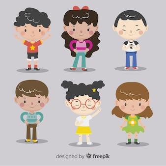 Fundo de personagens plana do dia das crianças