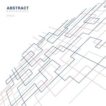 Fundo de perspectiva de forma quadrada de padrão geométrico abstrato