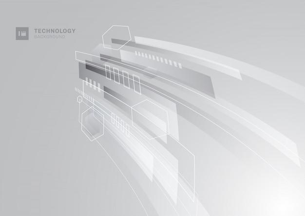 Fundo de perspectiva geométrica cinza tecnologia abstrata.