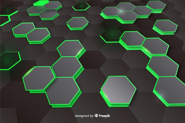 Fundo de perspectiva hexagonal technologycal