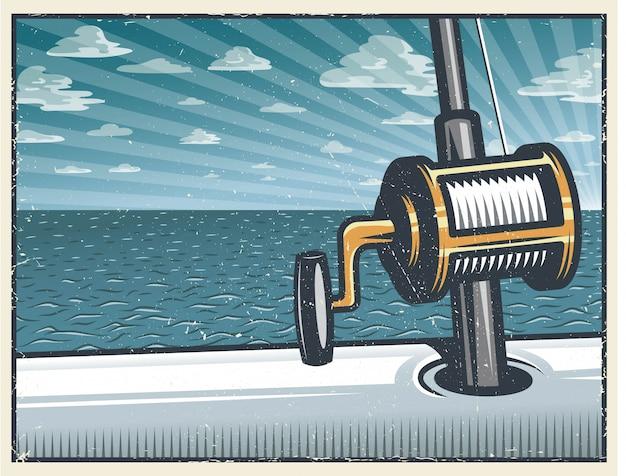 Fundo de pesca vintage de alto mar