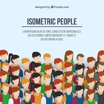 Fundo de pessoas em estilo isométrico