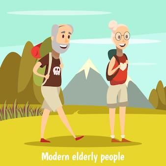 Fundo de pessoas idosas modernas