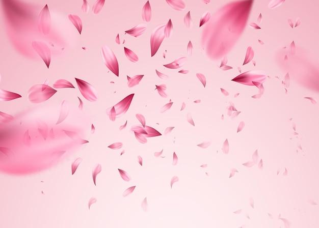 Fundo de pétalas caindo de sakura rosa. ilustração