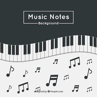 Fundo de piano com notas de música