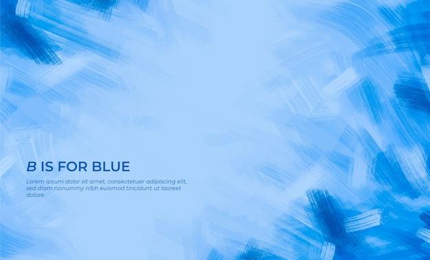 Fundo de pinceladas azuis com citação