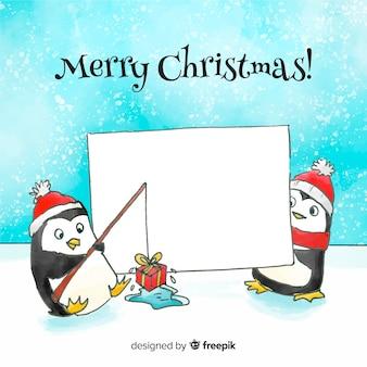Fundo de pinguins em aquarela