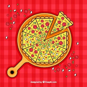 Fundo de pizza com ingredientes