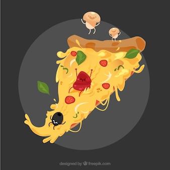 Fundo de pizza deliciosa com personagens de ingredientes