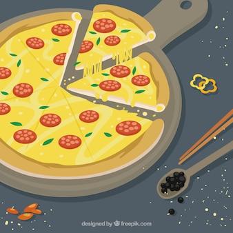 Fundo de pizza saborosa com queijo