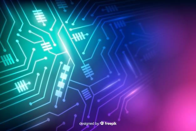 Fundo de placa de circuito de néon
