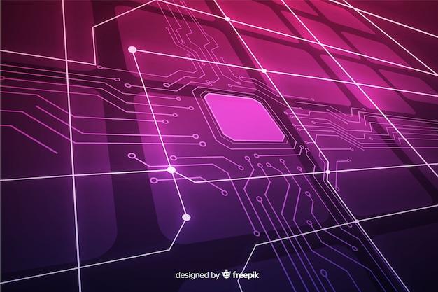 Fundo de placa de circuito gradiente tridimensional